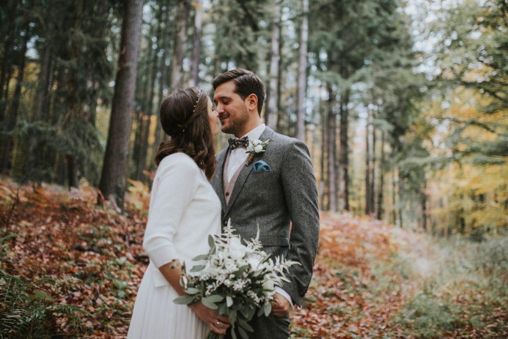 Hochzeitsreportage, Hochzeitsportrait im Wald, Hoher Darsberg, Neckarsteinach