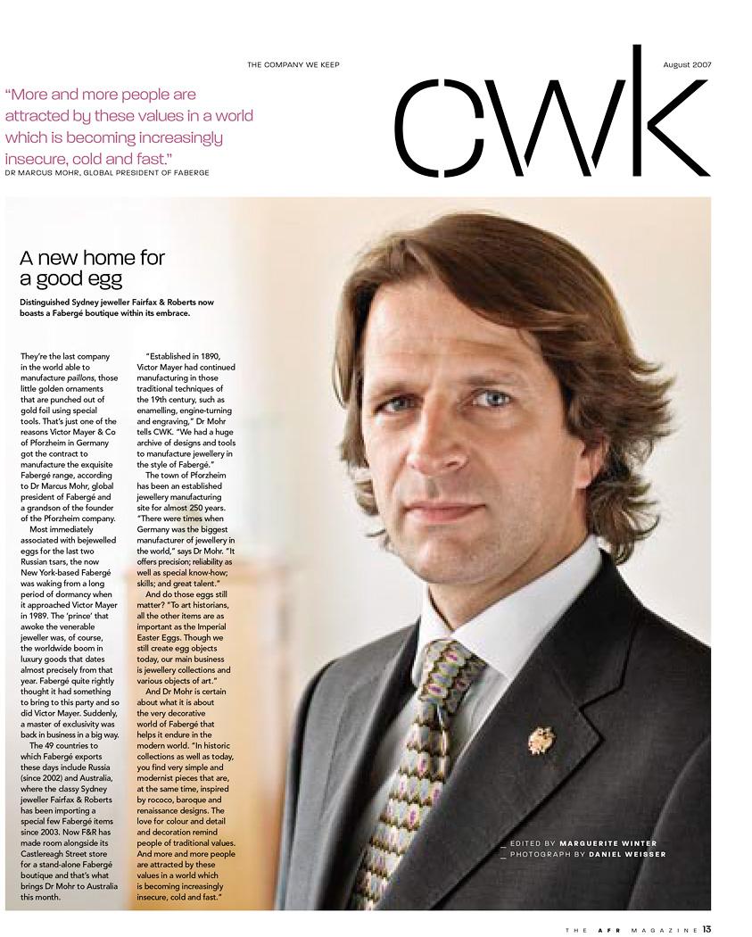 Dr. Marcus Oliver Mohr - Businessportrait für Australian Financial Review Magazine - Fabergé